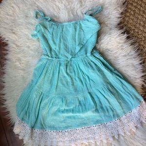 O'Neill teal lace ruffle dress kids small